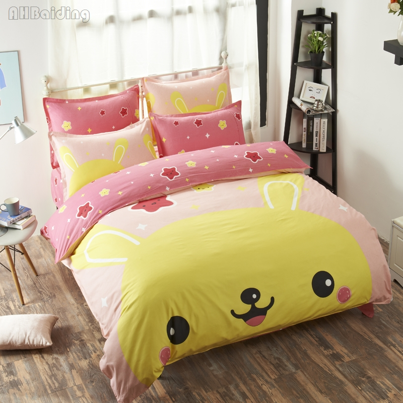 Home Textile Cute Pink Pikachu Fairy Bedding Set Cartoon Animal Printed Bed Linen for Boy/girls Kids Gift Twin Full Queen Size