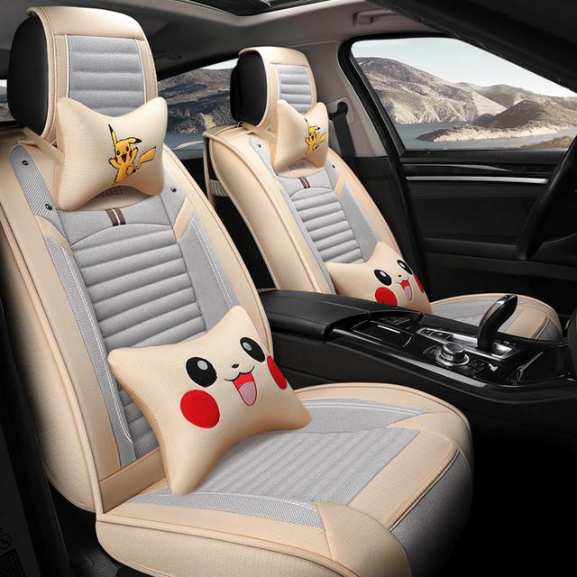 1 Conjunto de dibujos animados monstruo de bolsillo cubierta de asiento de coche protector lindo pokemon Pikachu auto cubre universal para geely atlas alfa romeo 159