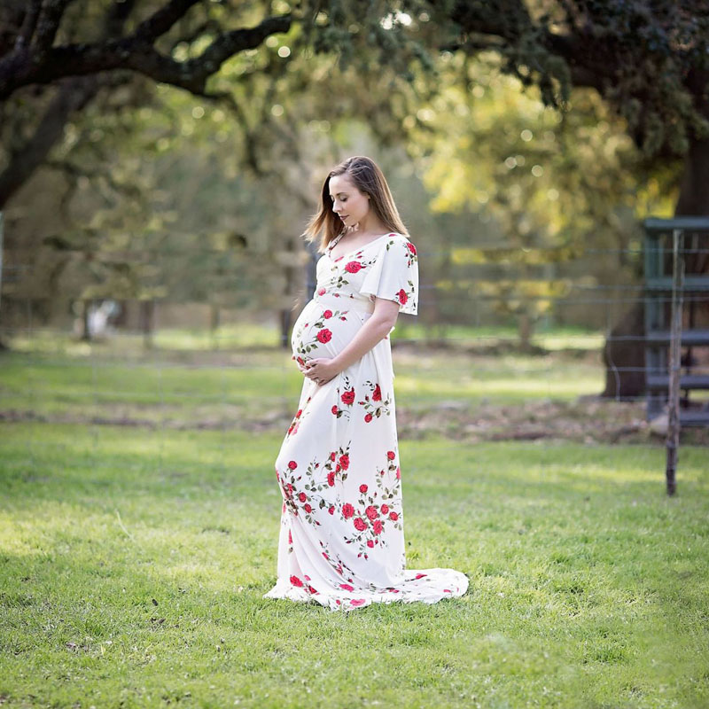 New Designs Printed Maternity Dress Photo Shoot Maxi Maternity Gown FRONT Maternity Gown Sexy Maternity Photography Propss ...