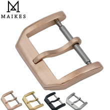 MAIKES New 18mm 20mm Leather Watch Band Strap Buckle Rose Gold 316L Stainless Steel Brushing Clasp Case For IWC Watchband цена