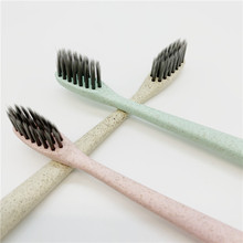 Natural Nano Wheat Straw Toothbrush Soft Slim Bamboo Charcoal Dental Tooth Cleaner Portable Biodegradable