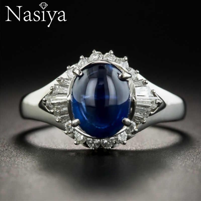 Nasiya คลาสสิก Vintage สร้าง Blue Sapphire แหวนเงินแท้ 925 เครื่องประดับอัญมณีสำหรับผู้หญิงหมั้นของขวัญ
