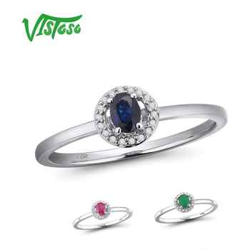 VISTOSO 14K White Gold Rings For Lady Genuine Shiny Diamond Fancy Sapphire Ruby Emerald Engagement Anniversary Chic Fine Jewelry - DISCOUNT ITEM  49% OFF All Category