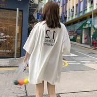 Harajuku Cool Girl Brief print t-shirt große größe Lange T Shirt Femme Sommer weiß Top für Frauen 2019 Koreanische Stil lose T Shirt