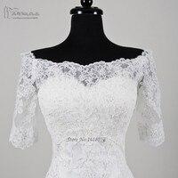 2016 Elegant Lace Wedding Jacket Women Bridal Shawl Wrap Bolero Free Shipping Bridal Accessory Half Sleeve Scoop Buttons