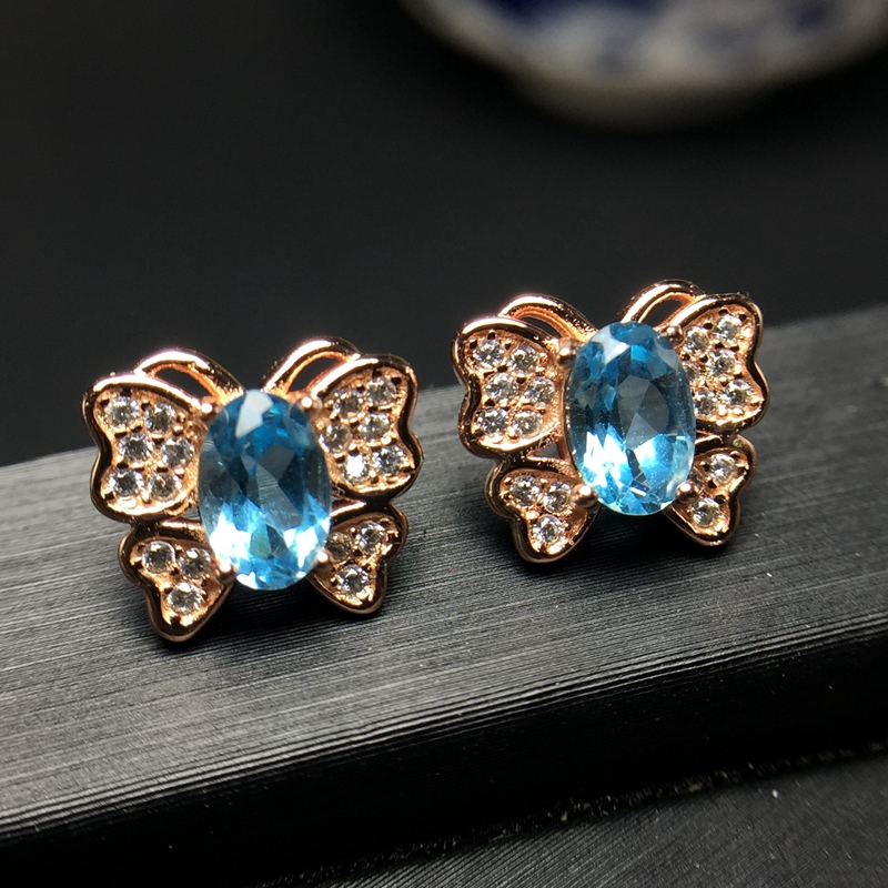 Popular style eardrop Hongkong new product 925 Silver Natural Topaz ear nail is simple and beautiful. natural tanzania bracelet fashionable new product design jewelry exhibition new product 925 silver beautiful lady attention coll