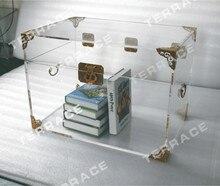 Прозрачный Акриловый Хранения Грудь, Lucite Багажник