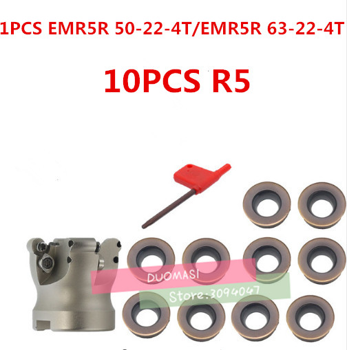 EMRW 5R 50 22 4T EMRW 5R 63 22 4T EMRW 5R 80 27 5T EMR 5R 100 32 6T Face Mill Milling Cutter Cnc Milling Tools For Round Inserts