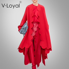Autumn winter new fashion, loose wool coat, European and American long double faced coat.