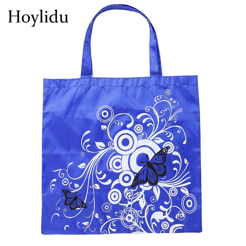 Waterproof Reusable Shopping Bags Women Foldable Tote Bag Oxford Eco-Friendly Butterfly Flower Prints Fabric Shopper Grocery Bag tote bag
