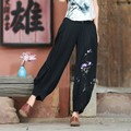 High Waist Linen Harem Pants Women Retro Autumn Style Casual Pants Female New Black Embroidered Trousers Plus Size