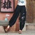 Ropa de Cintura alta Pantalones Harén Mujeres Pantalones Casuales Estilo Retro Otoño Mujer Nueva Negro Bordado Pantalones Más El Tamaño