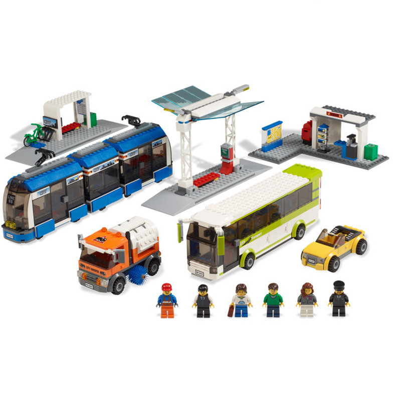 Image 2 - Blocks the Compatible Legoings City Public Transport Station Set Toys Building Bricks Bus Train Car Christmas gift for boy bith-in Blocks from Toys & Hobbies