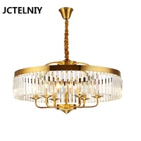 American round crystal chandelier golden candle living room lamp restaurant decoration lamp