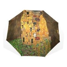 Women Umbrella Folding Children Automatic Gustav 3 Klimt Oil-Painting Easy-Carrying Female