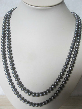 New Arriver 48inches Long Genuine Grey Color Freshwater Pearl Rope Necklace