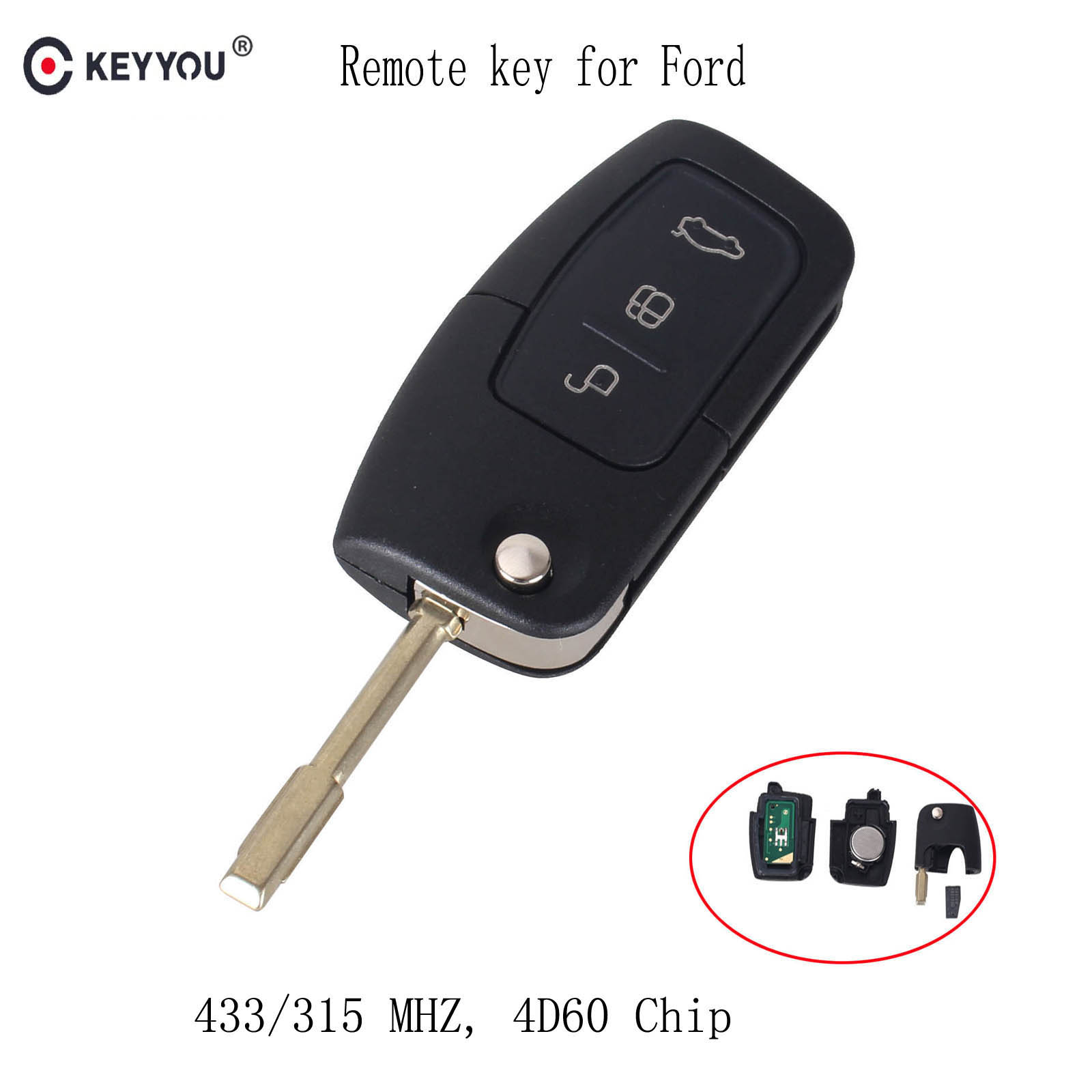 KEYYOU 433MHZ 4D60 Chip Car Remote Key Fit for Ford Fusion Focus Mondeo Fiesta Galaxy Automobile FO21 Blade Flip Auto KeyKEYYOU 433MHZ 4D60 Chip Car Remote Key Fit for Ford Fusion Focus Mondeo Fiesta Galaxy Automobile FO21 Blade Flip Auto Key