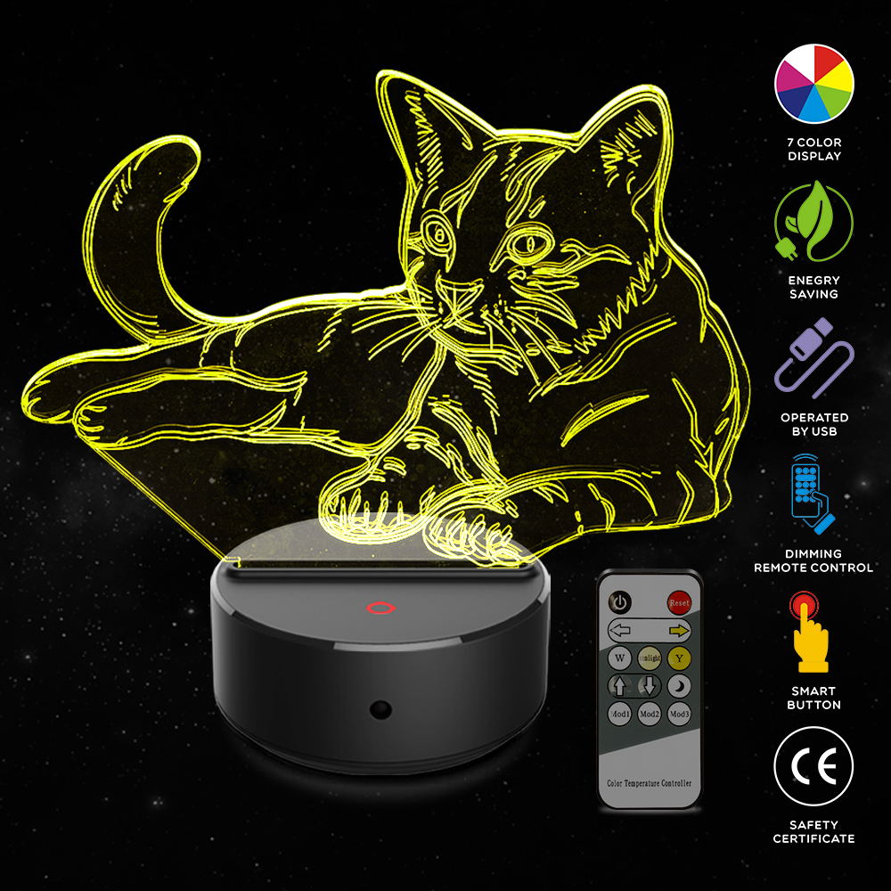 Cat 3D Night Light Animal Changeable Mood Lamp LED 7 Colors USB 3D Illusion Table Lamp For Home Decorative As Kids Toy GiftCat 3D Night Light Animal Changeable Mood Lamp LED 7 Colors USB 3D Illusion Table Lamp For Home Decorative As Kids Toy Gift