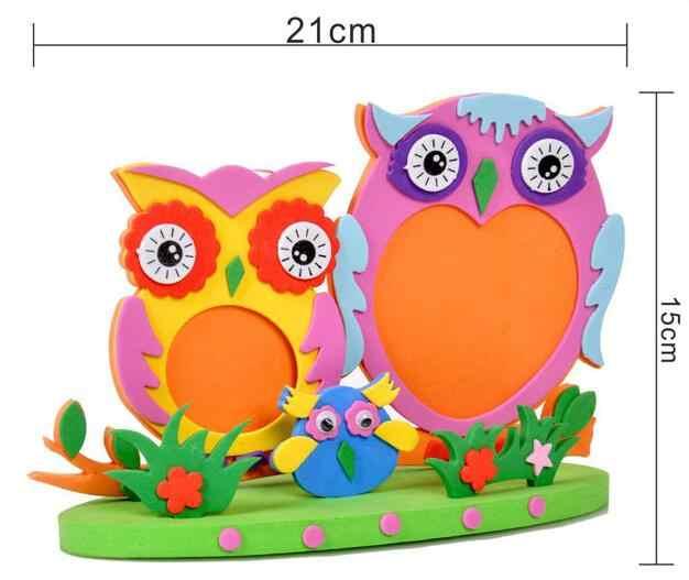 Kids DIY EVA Photo Frame Foam Craft Kits Educational toys for Children Bee Owl Giraffe  fish style