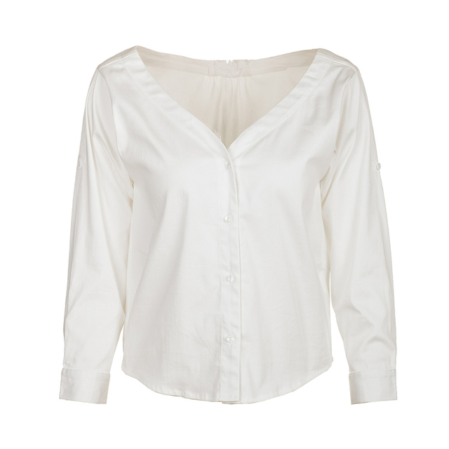 V-neck Button Long Sleeve Loose Casual White Women Blouse All-Match Tops