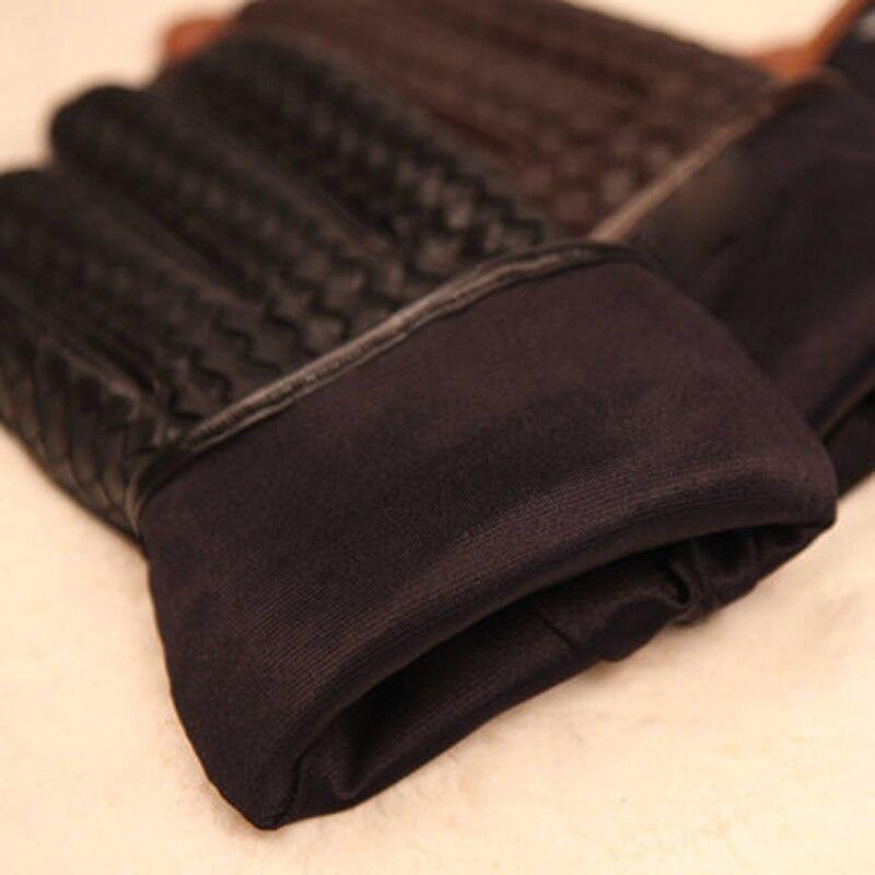 2019 nouveau haut de gamme armure hommes gants en cuir véritable mode solide poignet en peau de mouton gant homme hiver chaleur conduite M025NN - 5
