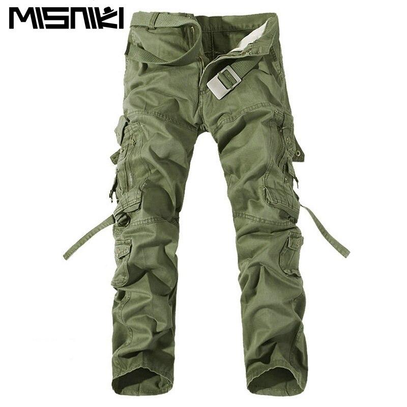 Misniki 2017 топ мода мульти-карман твердые мужские брюки-карго высокое