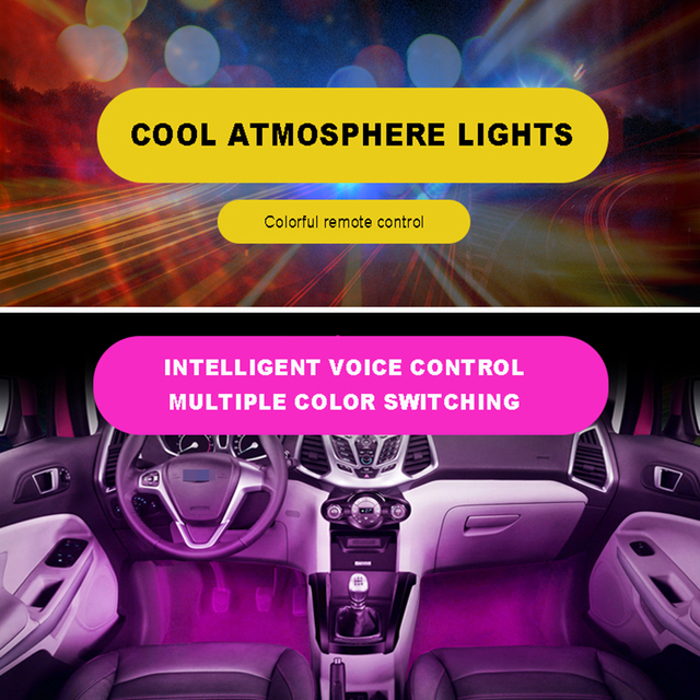 Us 17 71 Aliexpress 4pcs Et 7 Color Led Car Interior Lighting Kit Styling Decoration Atmosphere Light And Wireless Remote