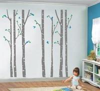 Free Shipping Huge Birch Tree Birds Vinyl Wall Sticker Nursery Wall Art DIY Stickers For Kids