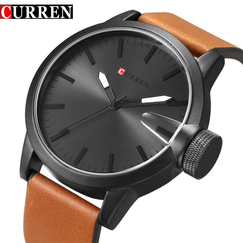 Curren Luxury Brand Quartz Watch Men Big Dial Leather strap Gold Clock Male New Fashion Casual