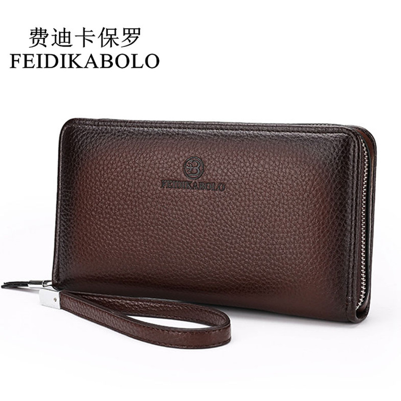 Hot 2018 Luxury Male Leather Purse Men's Clutch Wallets Handy Bags Business Carteras Mujer Wallets Men Black Brown Dollar Price 2016 famous brand new men business brown black clutch wallets bags male real leather high capacity long wallet purses handy bags