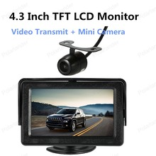 freeshipping 4.3 Inch Backup Reverse Monitor TFT LCD display with Wireless Video Transmit + Mini Camera