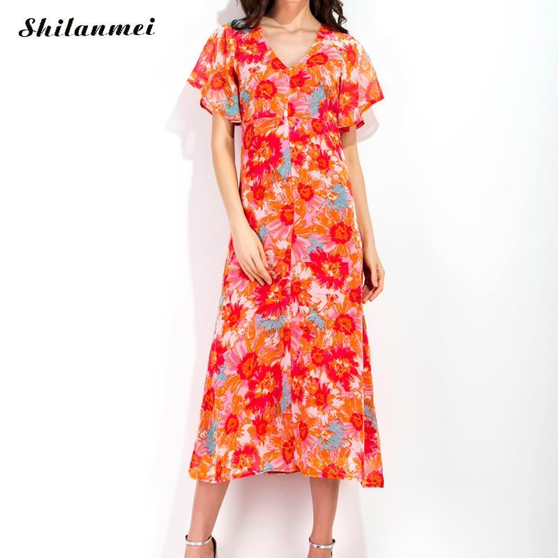 Summer Chiffon One-piece Dress For Women 2017 backless flower floral printed reddish orange V neck Short Sleeve Party Dress