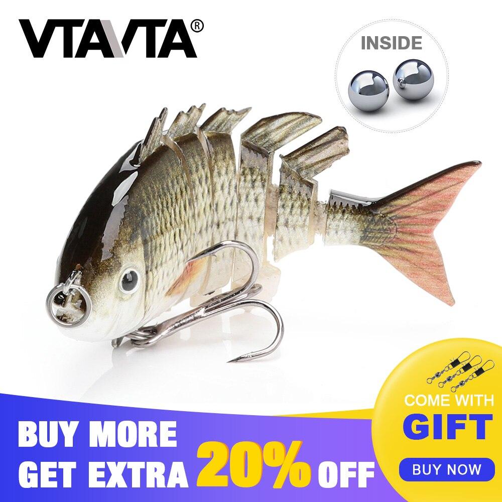 VTAVTA Mini Fishing Lure Topwater Crankbait 5.5cm 4g Multi Jointed Hard Bait sinking Wobblers Fishing 6 segemants Swimbait