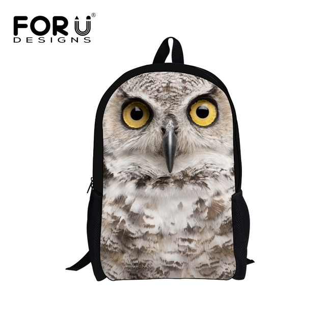 7b69f3181b74 FORUDESIGNS Children 3D Animals Owl Printing Backpack Kids Backpacks