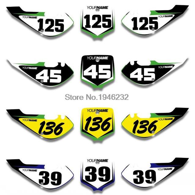 Custom number plate backgrounds sticker decals graphics for kawasaki klx110 2002 2009 kx65 2000