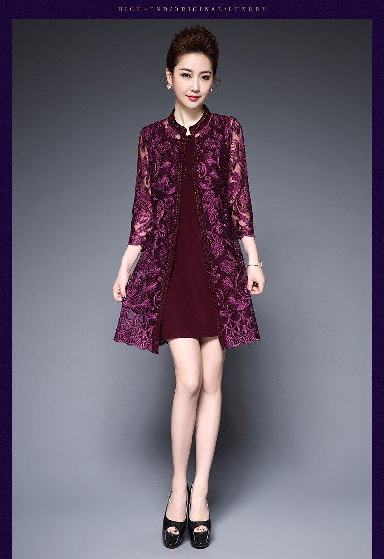 blue Moulante Couture cou Manches La Mince Tempérament Mesh 2018 O T168 Taille 3 Robe Purple Plus Brodé M Nouveau Partie Red red Femme 4 6xl purple q6xwH4Wpwz