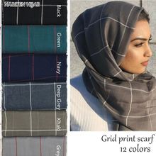 Spring Cotton Voile Muslim Hijab Maxi Scarf for Ladies Long Cross Strips Black Women Grid Hijabs Viscose Oversize plaid stole