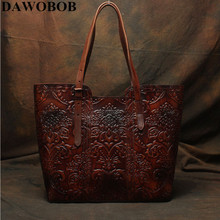 DAWOBOB High Quality Flower Pattern Vintage Coffee Thick Genuine Leather Women Handbags Lady Shoulder Bags Woman Totes #LD113