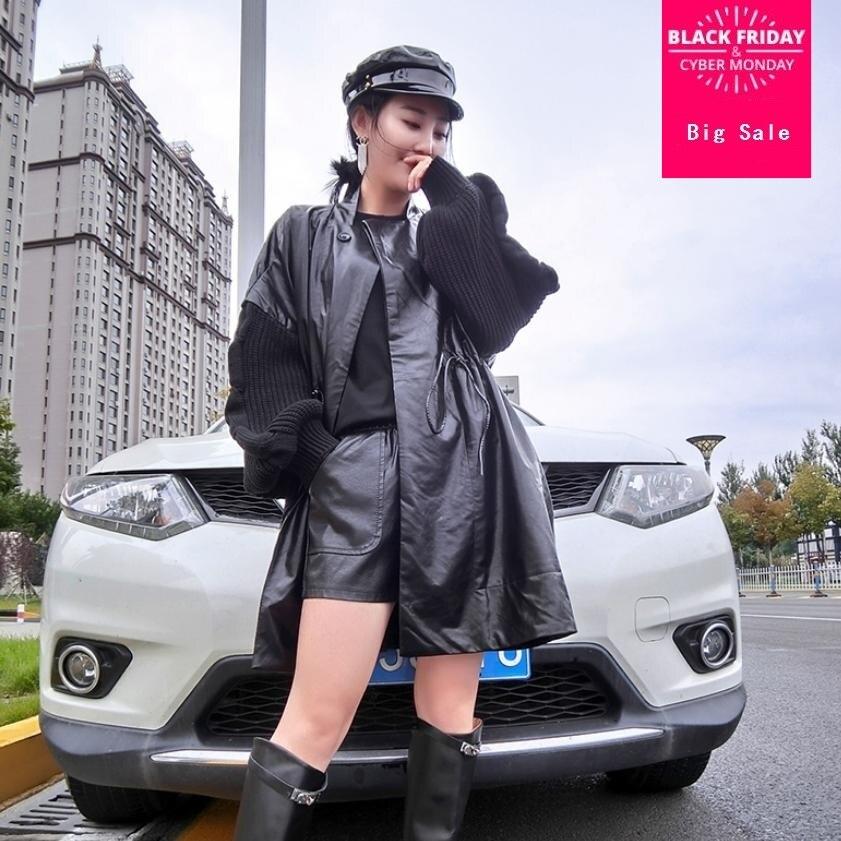 2018 Herbst Mode Korean Pu Leder Jacke Frauen Schwarz Windjacke Mantel Stricken ärmel Nähte Outwear Beiläufige Lose Mantel L1405 In Verschiedenen AusfüHrungen Und Spezifikationen FüR Ihre Auswahl ErhäLtlich