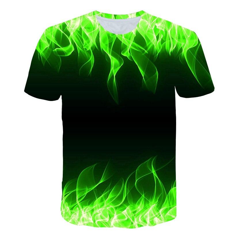 2019 venda quente nova camisa de verão masculina com gola redonda manga curta chama azul 3d impresso topo alta qualidade