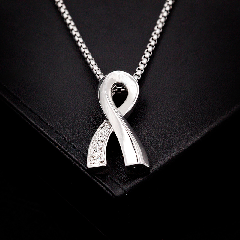 """New Arrived Pink/Black/Silver Crystal Infinity Cremation Urn Necklace with 24"""" Silver Chain, Stainless Steel Ashes Keepsake"""