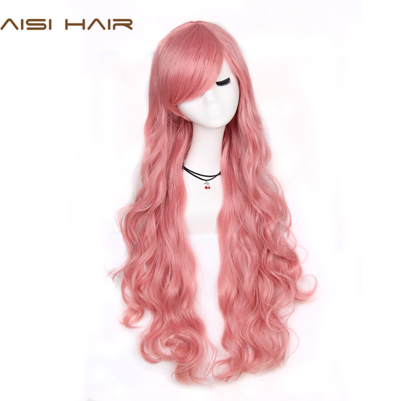 AISI BEAUTY Synthetic Cosplay Long Wavy Red Pink Grey Wigs Black Women 80cm With Bangs Hairstyle For Women