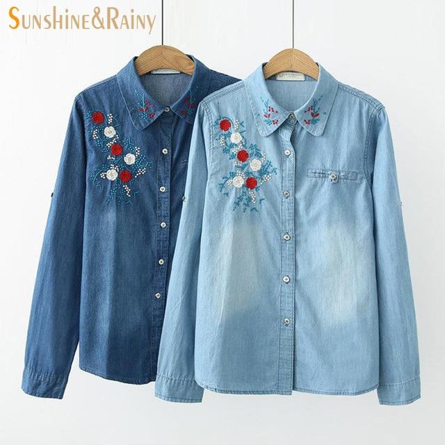 2017 autumn winter floral embroidery denim shirt women design pocket floral  women blouses jean shirt ladies