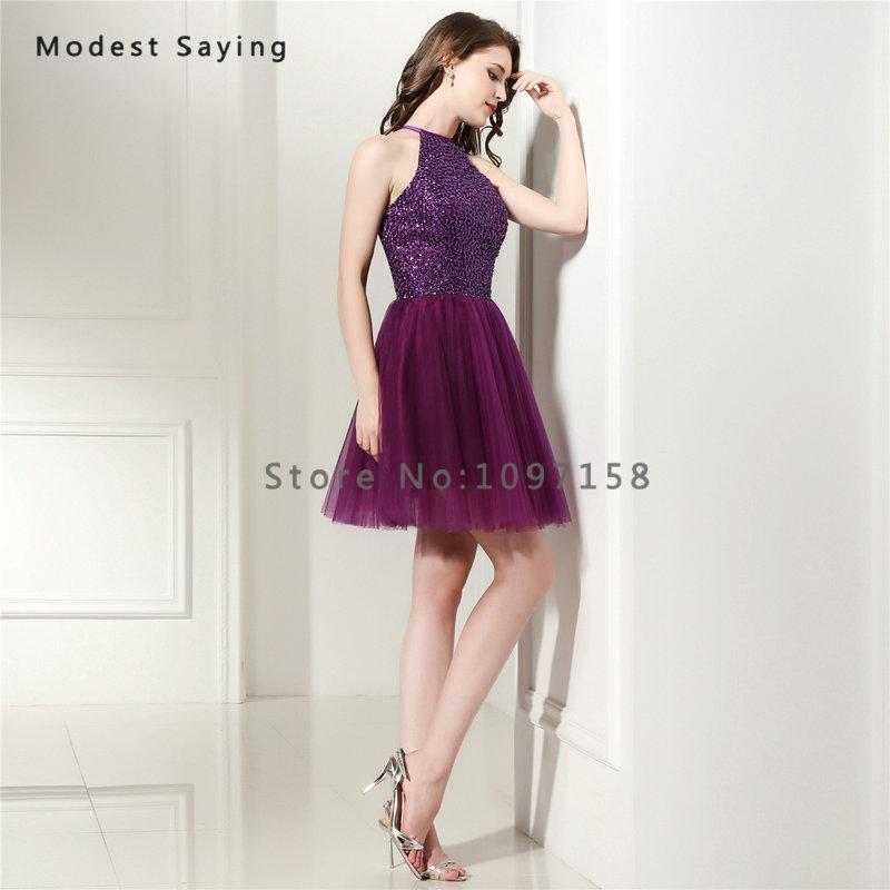 7ad3a255b Elegante uva púrpura una línea corta Vestidos de fiesta 2017 con ...
