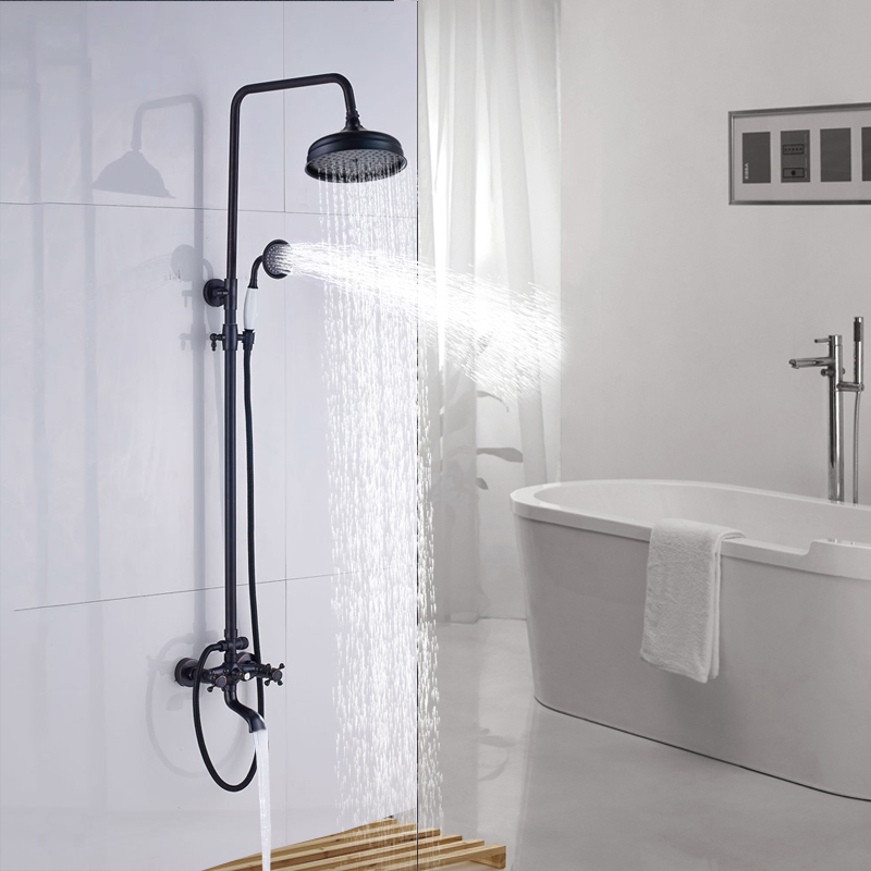 Bathroom Shower Faucet Set ORB Wall Mounted Single Handle Tub Faucet with ABS Handheld Shower luxury single lever bath tub shower set wall mounted shower faucet hot