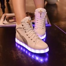 Fashion 8 Colors LED Shoes 2016 Autumn Winter High Top Growing Shoes For unisex Luminous Shoes White / Black Light Up Shoes