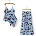 Summer Boho Printed 2 Piece Set Women Irregular Sling Tops +Wide Leg Pants Casual  Chiffon Tracksuit 564-8705