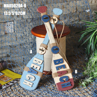 Amerikaanse Land Stijl Kleding Hanger Houten Woninginrichting Paddle Haak Als Studio Props Bar Wanddecoratie Blauw Rood