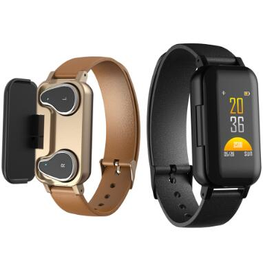 <font><b>T89</b></font> <font><b>TWS</b></font> bluetooth earphone wireless headphone smart bracelet heart rate sport smart wristband fitness tracker smart watch men image