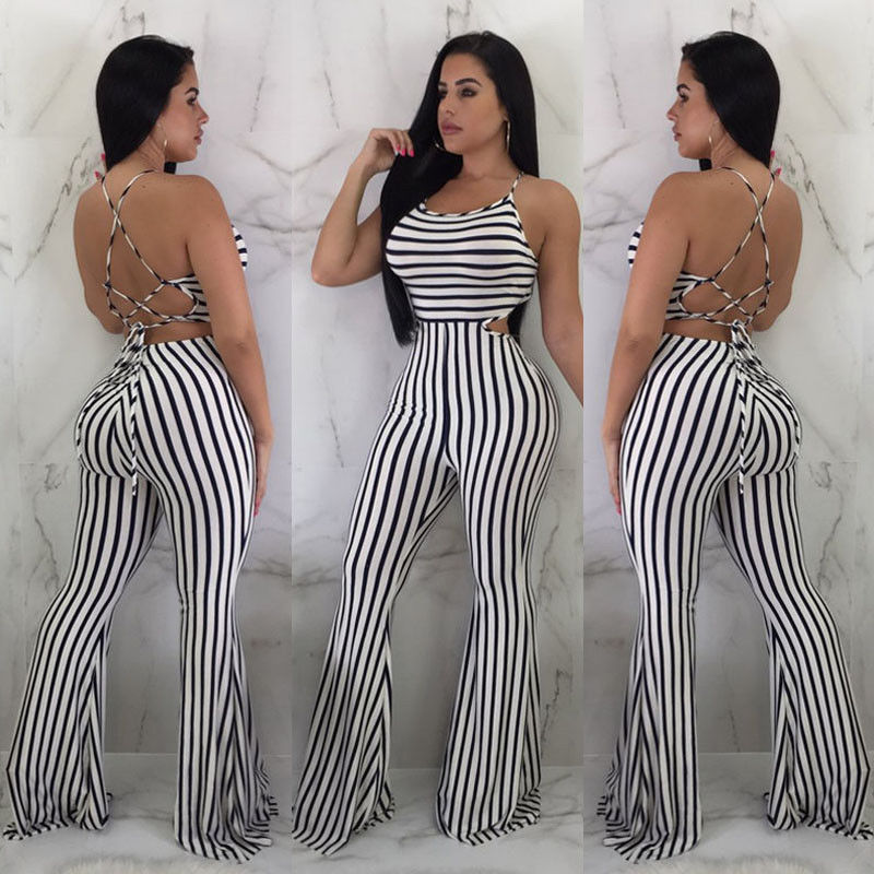 New Women Clubwear Pants Summer Playsuit Bodycon Party Jumpsuit Sexy Striped Romper Trousers(China)